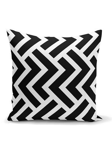 Real Homes Siyah Beyaz Geometrik Desenli Dijital Yastık Kırlent Kılıfı Renkli